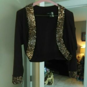 Dark brown with gold sequin shrug by Cable and Gag